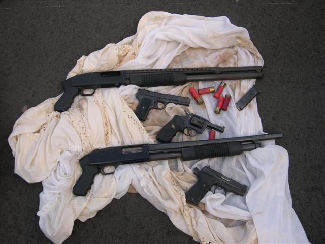 Weapons confiscated by the Narcotics Division
